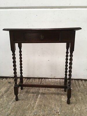 Victorian Edwardian oak  one drawer console hall table