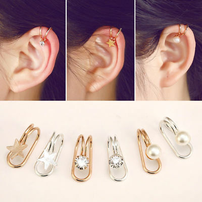 Pair Cross Heart Crystal Ear Clip Cuff Wrap Fake Earring Cartilage Non Piercing