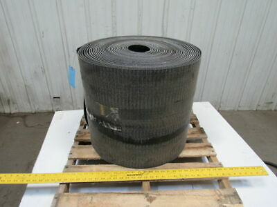 "18"" PVC Woven Back 1 Ply 1/4""T Black Rubber Rough Top Incline Conveyor Belt 100'"