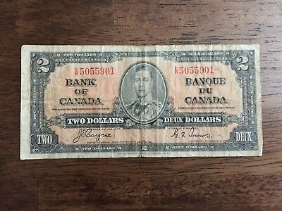 1937 Canadian Two Dollar Bill Deux Dollars