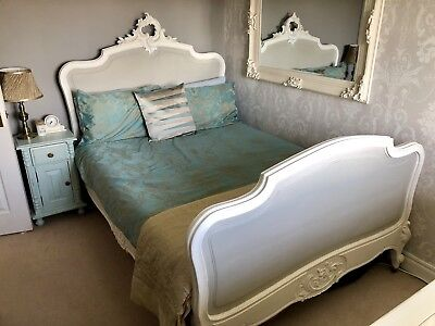 Authentic Ornate Antique Carved French Double Bed Shabby Chic