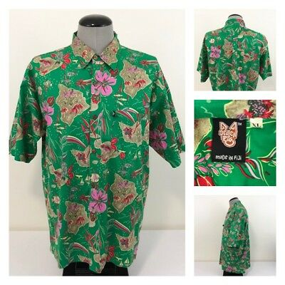 Stolen Pig Mens XL Fiji Island Tropical Fish Flowers Hawaiian Aloha Shirt Rare