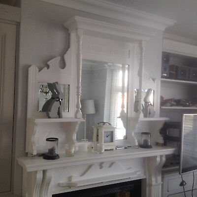 Lovely large shabby chic antique painted Overmantle Mirror