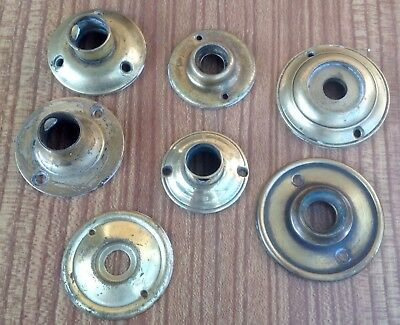 Job Ot Of 7 Vintage Round Brass Door Knob Back Plates Rosettes Escutcheons