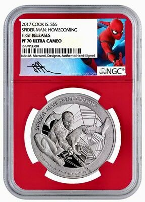 2017 Marvel Spider-Man Homecoming 1oz Silver NGC PF70 UC FR (W/Box/COA)