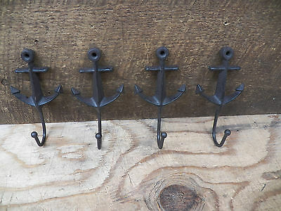 Lot 4 Antique-Style ANCHOR Rustic School COAT HOOK Cast Iron Wall Mount Hardware