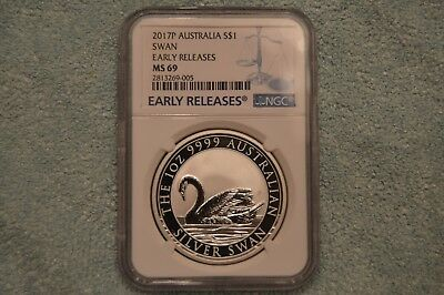 2017 Australia 1 oz Silver Swan MS-69 NGC (Early Releases)