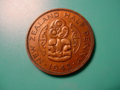 New Zealand - Scarce Date - 1942 1/2-Penny In Excellent Condition