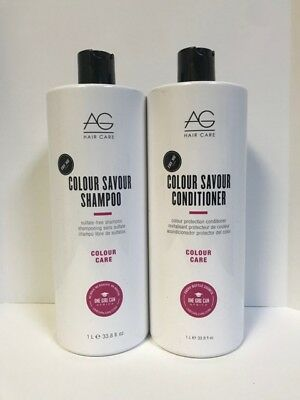 AG Hair Colour Savour Shampoo & Color Protection Conditioner - 33.8oz LITER DUO