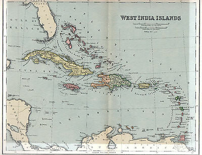 C1892 Antique Map Of West India Islands West Indies