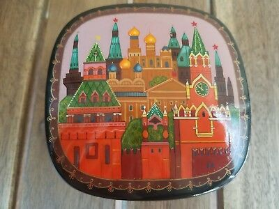 Russian Black Lacquer Fairy Tale Box Shows St. Petersburg
