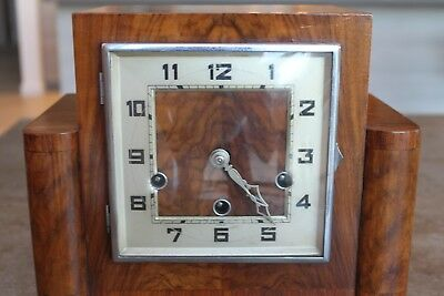Art Deco Mantle Clock  Original Figured Walnut with Inlaid fruit wood Charming