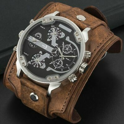 APHOTIC Steel Snazzy 4 Time Zones Watch Vintage Brown Wide Cowhide Leather Strap