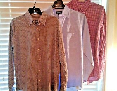 Lot of 3 Men's Dress Shirts size M Eddie Bauer,Lands End, Calvin Klein