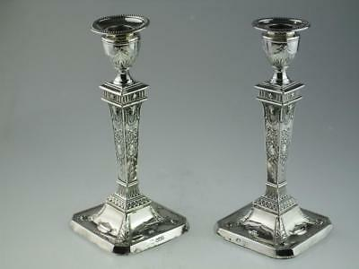 Antique Solid Silver Candlesticks Sheffield 1899 By Walter Latham & Son
