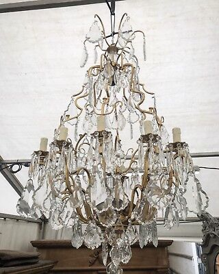 Large, Antique, French Crystal Chandelier, Vintage, Industrial, 110cm Tall,