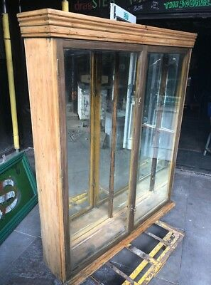 Victorian Pine and Mahogany mirrored shop display cupboard