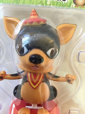 Funny Solar Chihuahua Dog Bobble Head Brown Happy Birthday Hat Toy Watch Video