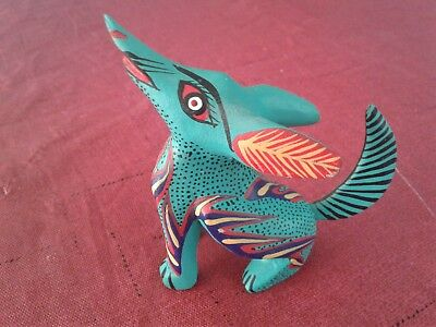 Oaxacan Carving Coyote Fine Wood Animals Hand Made Alebrije Native Signed Art
