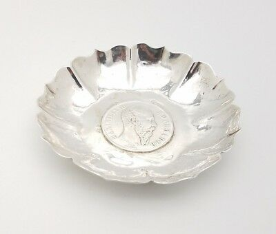 Maciel Sterling Silver Ash Tray Coin Dish Memento 1867 Mexican Empire