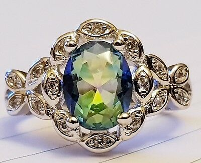 925 Sterling Silver Ring.  Green / Blue Mystic Topaz. Size 7 / 54 mm. AUSTRALIA