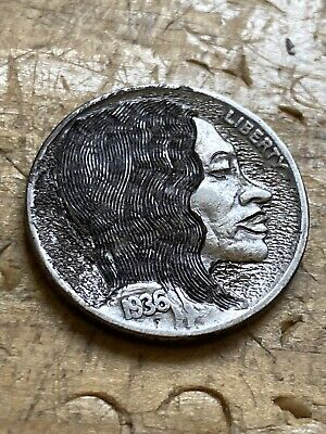 Double Sided Man And His Dog Hobo Nickel Coin Art Hand Carved