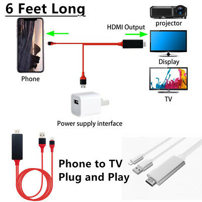 6Feet 1080p Lightning to HDMI HDTV AV Adapter Cable Cord For iPhone 5/6/7/8/X/Xs