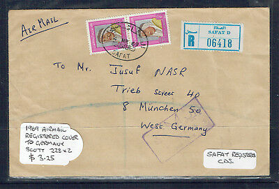 Kuwait 1969 Registered Airmail Cover To West Germany-Safat CDs-Addressed-Used