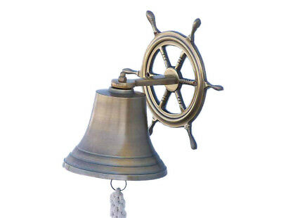 "Antiqued Brass Finish Solid Aluminum Bell 8"" w/ Ship's Wheel Bracket Wall Decor"