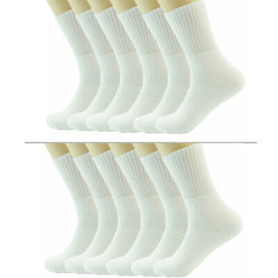 9 Pairs Mens White Solid Sports Athletic Work Crew Long Cotton Socks Size 10-13