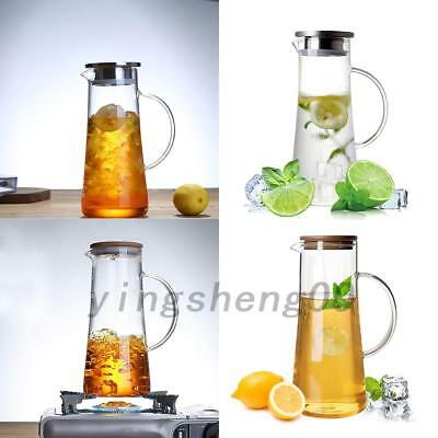 New 1.5L Glass Water/Juice/Milk Carafe with Pitcher Wooden/Stainless Steel Lid