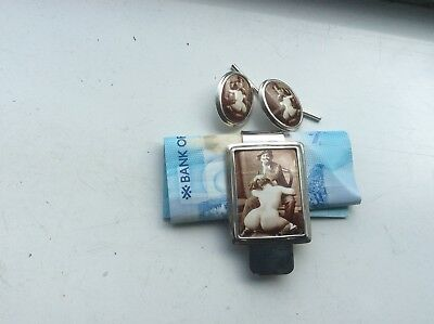 Solid Silver Money Clip And Cufflinks