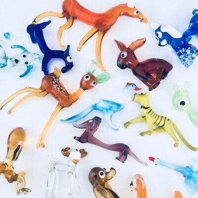 Vintage Murano Style Coloured Glass Animals - Select the set you want!