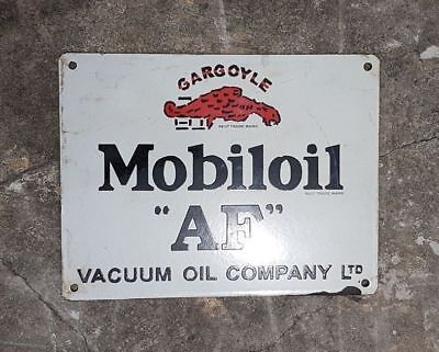 "Rare Vintage 1930's Old Antique Mobil Oil ""AF"" Adv. Porcelain Enamel Sign Board"