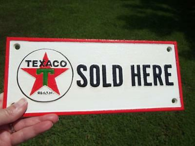 Cast Iron Texaco Sold Here Sign Plaque Gas Oil Collectible Sign Gas Station Sign