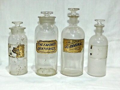 Lot of FOUR Vintage Glass Apothecary Bottles
