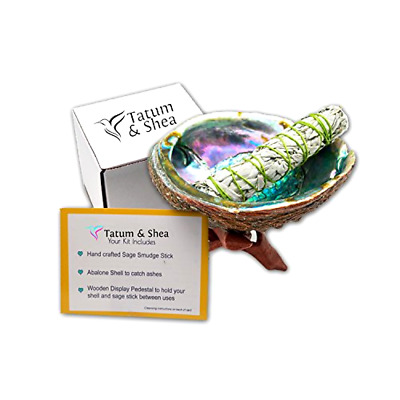 Smudging Kit with Abalone Shell Wooden Tripod, White Sage Smudge Stick.Full Size