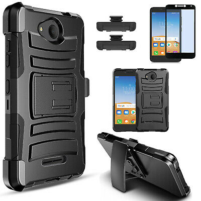 For Alcatel Tetra Phone Case, Armor Belt Clip Cover+Glass Screen Protector