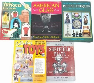 Lot of (5) Antiques & Collectibles Book Guides: Toys, Glass, Sheffield Plate