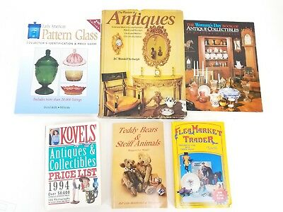 Lot of 6 Antiques & Collectibles Book Guides: Pattern Glass, Bears, Flea Market