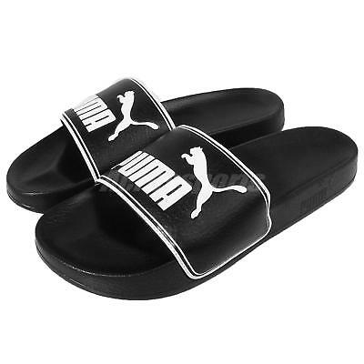 bb3255143f841 Puma Leadcat Black White Big Logo Men Sandals Slides Slippers 360263-01