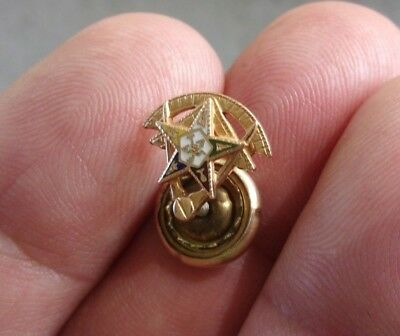 Vintage 14K Gold Eastern Star Over Masonic Square & Compass Lapel Pin Freemason