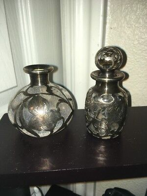 Set of 2 Antique Sterling Silver Overlay Flowers & Scrolls Glass Perfume Bottles