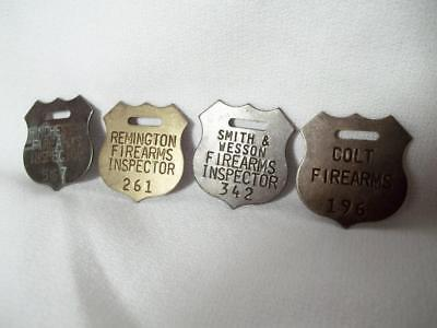 4 Brass Firearms Gun Tags Fobs Colt Remington Smith Wesson Winchester Western