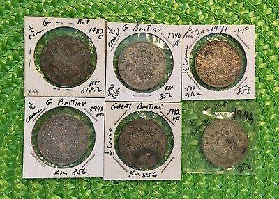 Great Britain Half Crowns 50% Silver (11 coins)     #1