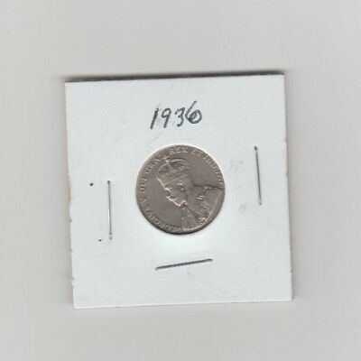 1936 Canadian 5 cent coin in what appears to be near mint condition