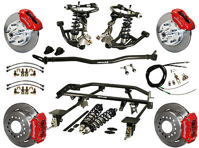 """Ridetech Coilover & 4-Link System & Wilwood Disc Brake Kit,11"""" Rotors,red,67-69"""