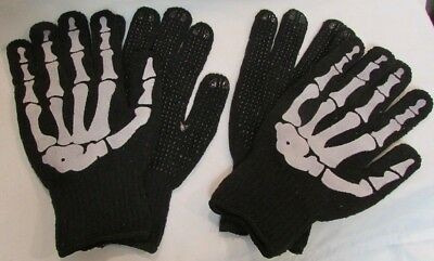 2 pair Cool Skeleton Hand Knit Work Gloves Mechanics Bikers Dotted One Size