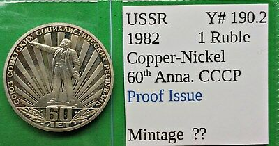 World Foreign Old USSR 1982 Coin Proof Rouble KM#190.2 Russia !!