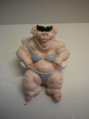 1993 Cast Art Pig In Blue Bathing Suit Lounging In A Chair